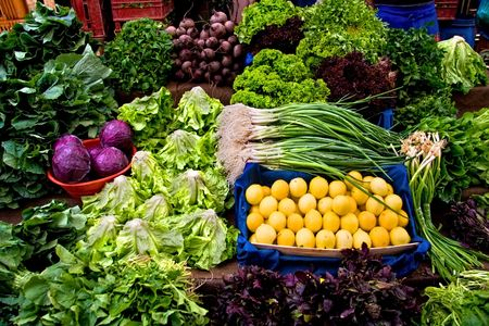 Fresh Organic Lemon, Parsley, Basil, Lettuce, Onion, Cress, Mint, Chard, Purple Cabbage and Radish At A Street Market In Istanbul, Turkey.