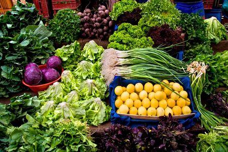 Fresh Organic Lemon, Parsley, Basil, Lettuce, Onion, Cress, Mint, Chard, Purple Cabbage and Radish At A Street Market In Istanbul, Turkey.