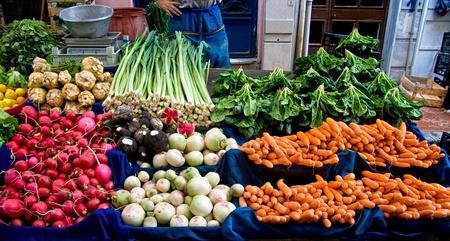 celery root: Fresh Organic Lemon, spinach, celery root, Lettuce, beet, radish, turnip, Mint, Carrot, and Leek At A Street Market In Istanbul, Turkey.