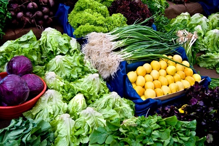 Fresh Organic Lemon, Basil, Lettuce, Cress, Chard, Purple Cabbage, Onion  and Beet At A Street Market In Istanbul, Turkey.