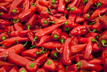 Heap Of Ripe Big Red Peppers At A Street Market In Istanbul, Turkey.  Carsamba Fatih Pazari (Bazaar)