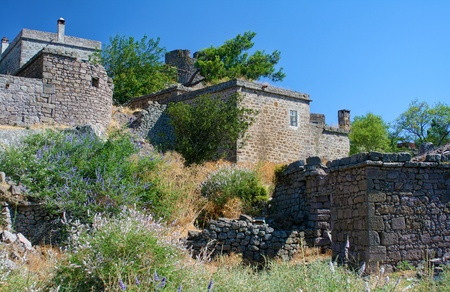 Near to Athena Temple, Traditional Old Houses Stock Photo