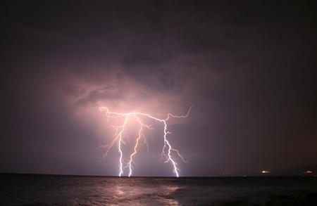 Severe Lightning At Open Sea Stock Photo - 10406159