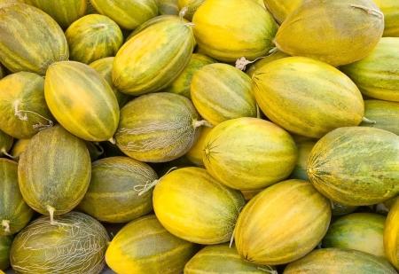 Organic Melon Heapat a street market Stock Photo