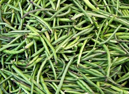 street market: Organic String Beans At A Street Market  Stock Photo