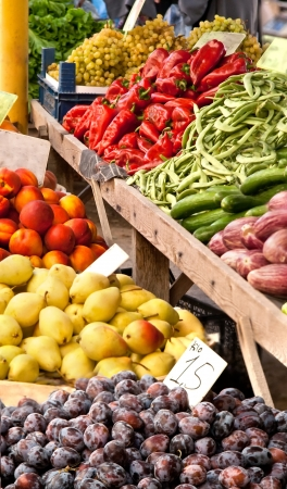 Fresh Organic Fruits and Vegetables At A Street Market; Peaches, Nectarine, Pears, Damson Plums, Green Grapes, Red Pepper, Eggplant, Cucumber, Green Beans