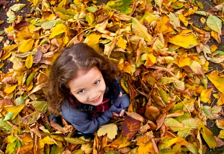 Little Girl Sitting On A Heap Of Yellow Leaves