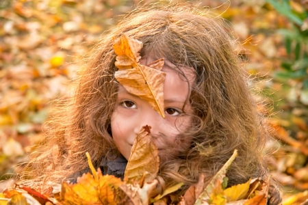 Holding A Bunch Of Yellow Leaves In Her Arms Stock Photo - 16733299