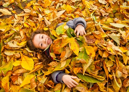 Little Girl Laying On A Heap Of Yellow Leaves Stock Photo - 16733300