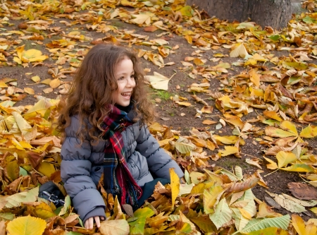 Little Girl Sitting On A Heap Of Yellow Leaves photo