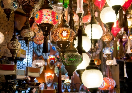 Colorful Traditional Turkish Different kinds of Turkish Lights on display
