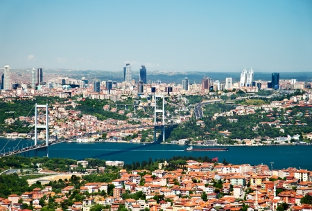 panoramic roof: A View From Camlica Hill Towards Istanbul And The Bosphorus Bridge