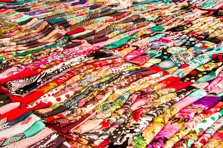 Rows Of Colorful Head Scarfs At A Street Market 版權商用圖片