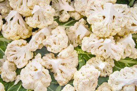 Organic White Cauliflower Broken To Parts Stock Photo