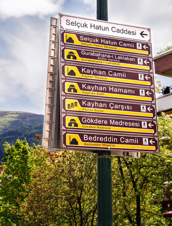 Directional Signs To Different Touristic Landmarks In Bursa, Turkey