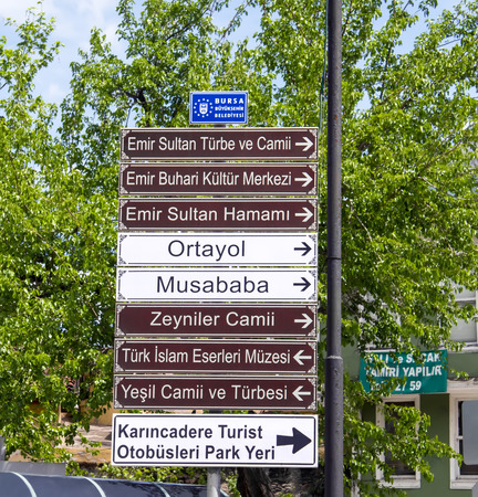Directional Signs To Different Touristic Landmarks In Bursa, Turkey