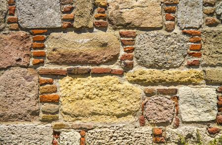 Traditional Stone and Brick Wall Background TextureAt Bozcaada Castle, Canakkale, Turkey
