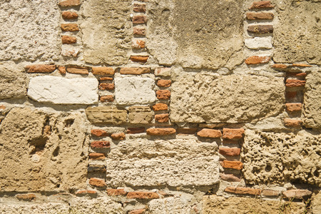 Traditional Stone and Brick Wall Background TextureAt Bozcaada Castle, Canakkale, Turkey