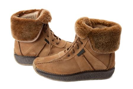 sheepskin: botas calientes con piel de cordero solapa Foto de archivo