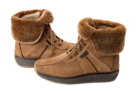 shoestrings: warm boots with lapel sheepskin Stock Photo