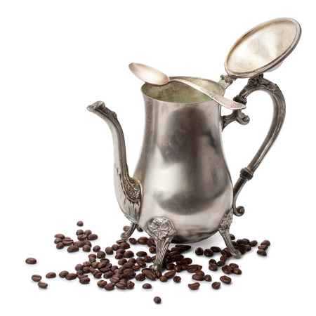 silver coffee pot, spoon, coffee beans