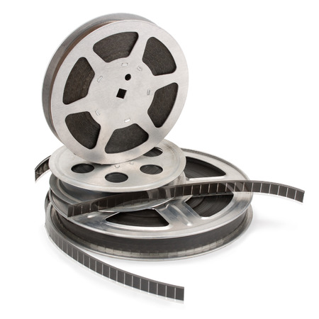 16mm: Old film strip isolated on white background