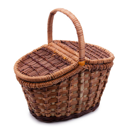wicker basket of natural materials isolated on white background photo