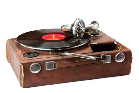 gramaphone: old phonograph and vinyl record isolated on white background