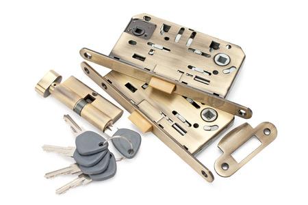 locks and keys isolated on white background photo