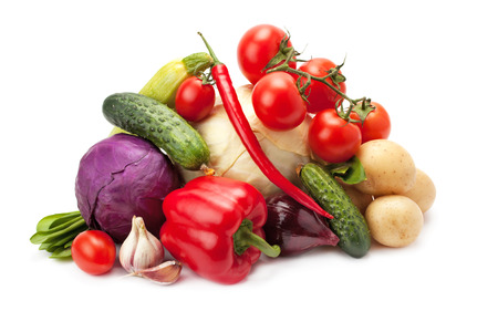 truck crops: fresh, ripe vegetables isolated on white background
