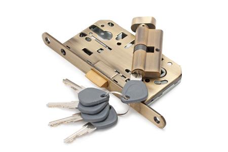 lock and keys isolated on white background photo