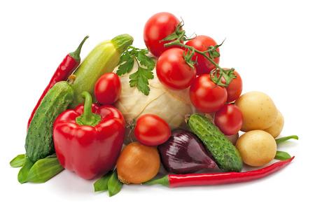 verduras: , las hortalizas frescas maduras aisladas en el fondo blanco Foto de archivo