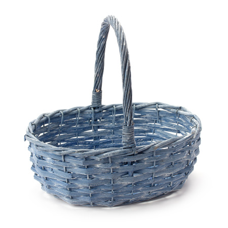 commodious: wicker basket of natural materials isolated on white background Stock Photo