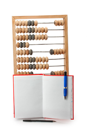 learning series: old wooden abacus notebook and pen isolated on white background Stock Photo