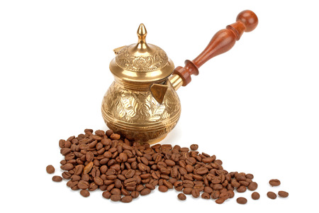 coffee pot, coffee beans isolated on white background photo