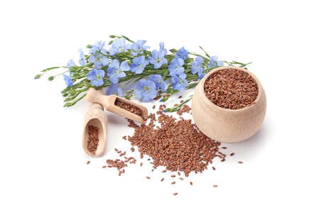 flax seeds and flax flowers isolated on white background Stock Photo