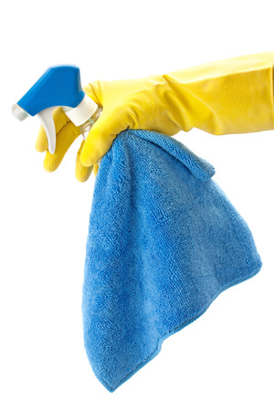 cleaning service: detergents for cleaning the house in a hand isolated on a white background