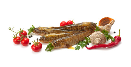 freshest: freshest seafood, fish, tomatoes and spices isolated on white background