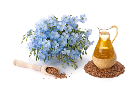 flaxseed: linseed oil, flaxseed and flowers isolated on a white background Stock Photo