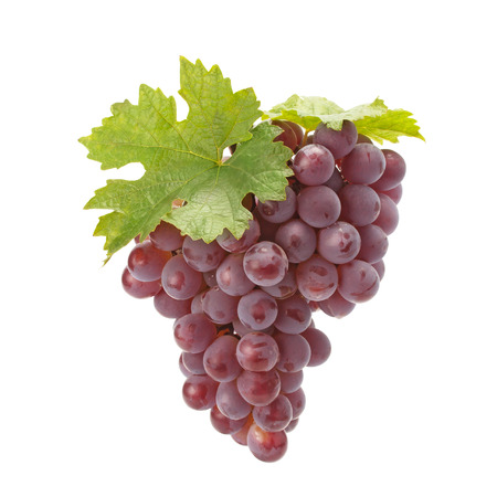 red grape: Ripe red grape with leaves isolated on white Stock Photo