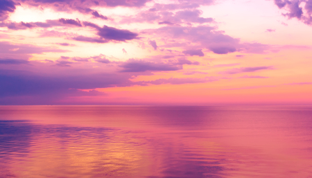 beautiful sunrise over the quiet calm sea Stock Photo