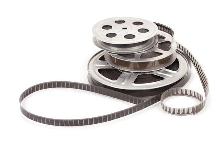 Oude film haspel met strip geïsoleerd op een witte achtergrond Stockfoto
