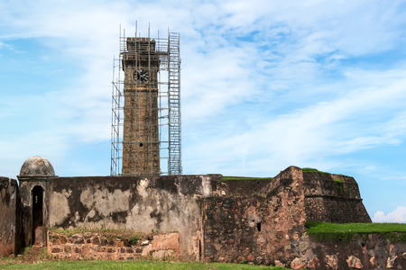 galle: Clock Tower in the city of Galle on the restoration.