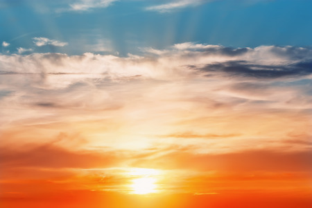 torrid: Fiery orange sunset sky. Beautiful evening sky.