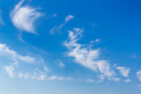 Blue sky and white, light clouds closeup. Stock Photo
