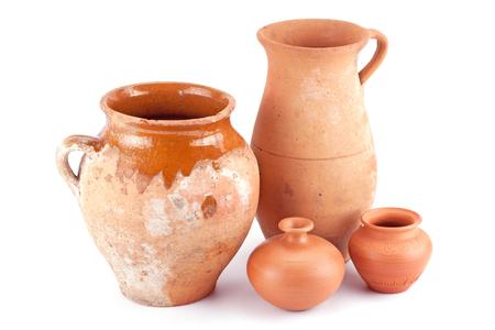 clay jug handmade isolated on white background