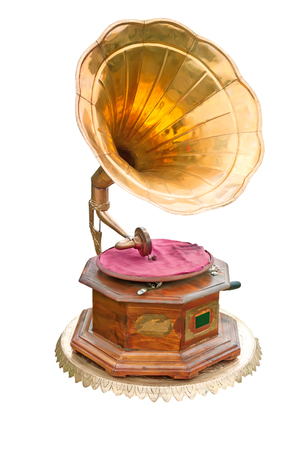 Gramophone with brass trumpet isolated on white background. Standard-Bild