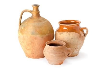 Clay jug handmade isolated on white