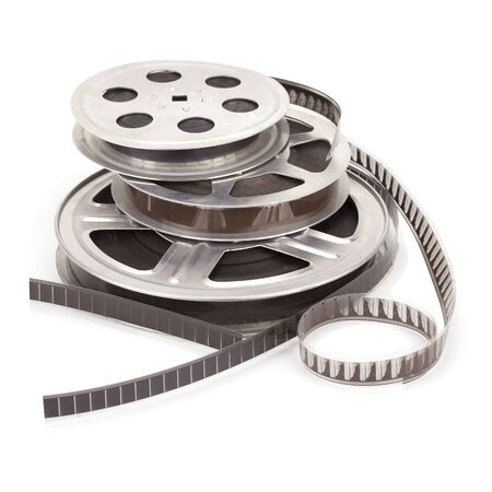 Old film reel with strip isolated on a white background. Banco de Imagens