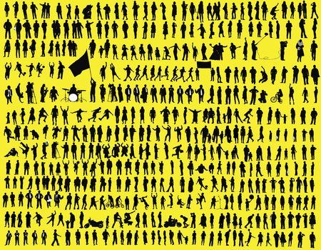 hundreds: hundreds of  silhouettes Stock Photo
